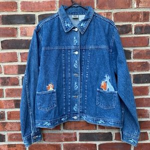 Vintage Lady and the Tramp Embroidered Jean Jacket